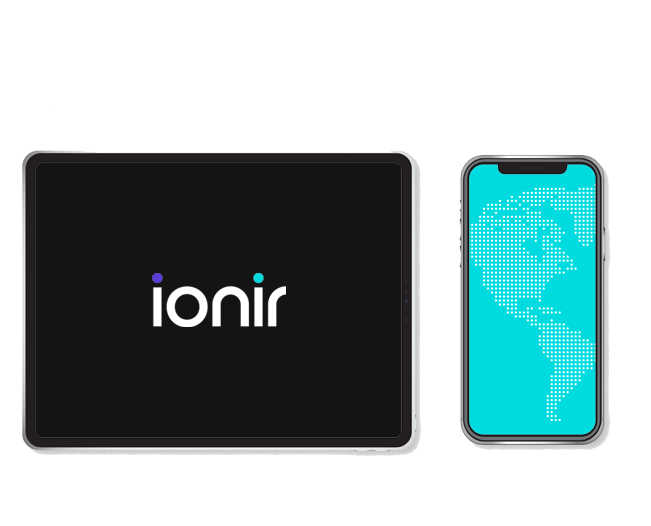 Tech graphics, ipad and iphone with ionir logo featured center