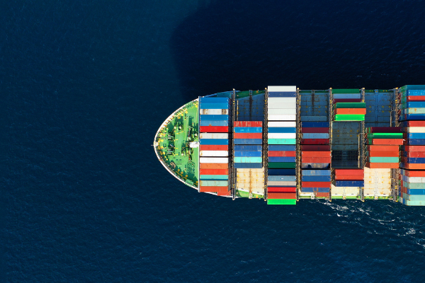 A photo of containers on a ship